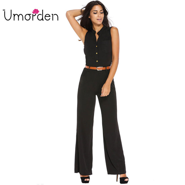 45da0b41981 S-2XL Plus Size Large Casual Belted Wide Leg Full Length Women Jumpsuit  Jumpsuits Rompers
