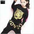 Novo Best-Seller 2016 Outono Design De Roupas das Crianças, meninas Cabeça Do Tigre Two-Piece Conjuntos infantis 3 Cor 3-15Year