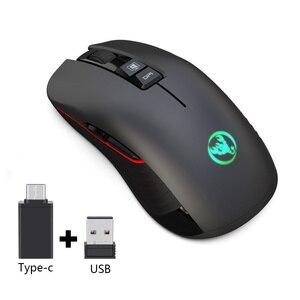 Image 2 - HXSJ nuovo wireless di ricarica del mouse 7 luce di colore 3600DPI gaming mouse senza fili del mouse USB di sostegno e di Tipo c interfaccia nero muto Mouse