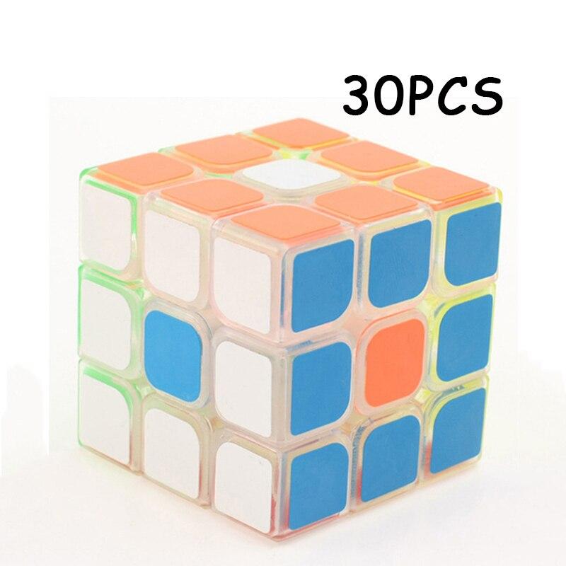 30 pièces YJ YongJun 3x3x3 autocollant Coloré Transparent Professionnel cube Magique Vitesse Puzzle Neo Cube Jouets Éducatifs Pour Enfants