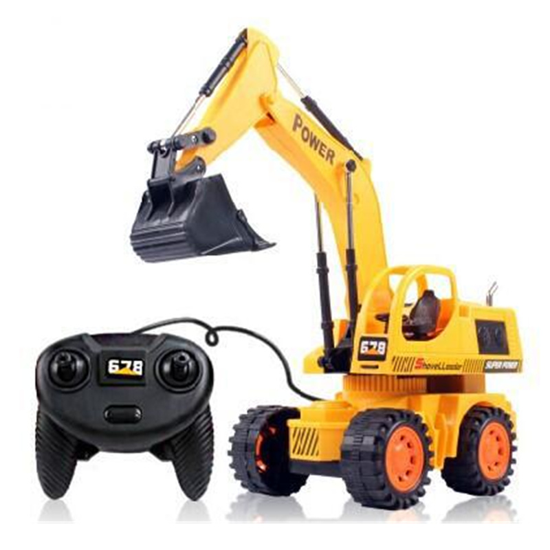Electric Remote Wireless Excavators Remote Control Hydraulic Excavator Toy Car Childrens RC Truck Toys Bulldozer Toy Gifts