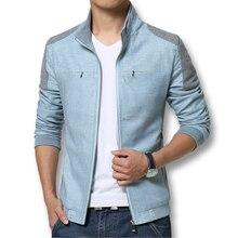 Primavera Verano 2017 Hombres Chaquetas de Moda Casual hombres Abrigos Delgado encaja Más Tamaño 3XL 3 Colores de Lino Ropa de Los Hombres Suave Outwears