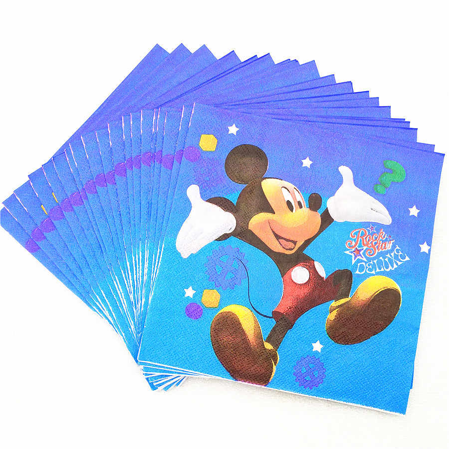 20pcs Mickey Mouse PARTY Supplies การ์ตูนธีมกระดาษผ้าเช็ดปาก/เนื้อเยื่อ/ผ้าขนหนูวันเกิดตกแต่งเด็กเทศกาล