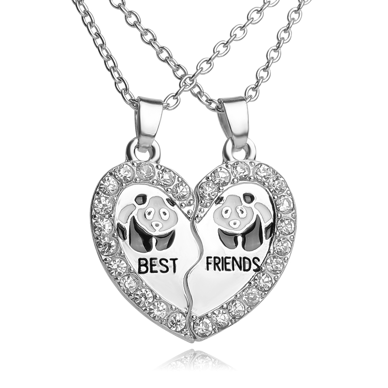 BEST FRIENDS Necklace BFF 2 Part Broken Heart Pendant Animal Panda - Fashion Jewelry