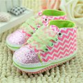 New Bling Floral Leopard Sequin Infant Soft Sole Fashion Toddler Baby Girls Shoes First Walker Cotton Fabric Lace-up Shoe