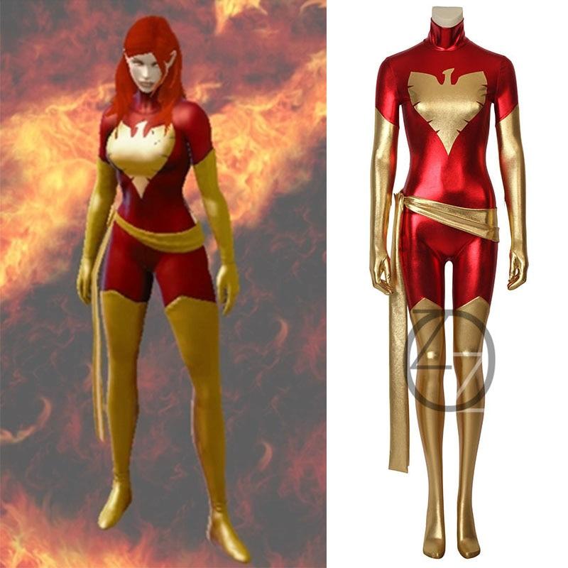 Adult Women Phoenix Costume X-Men Jean Grey Cosplay Costume Lycra Shiny Zentai Female Halloween Party Cosplay Bodysuit