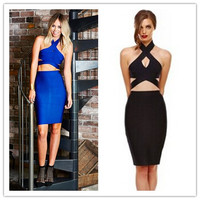 Blue and Black Colour 2014 New Style Two Pieces Sexy Mini Dress Ladies Halter Sleeveless HL Bandage Dress Evening Party Dress