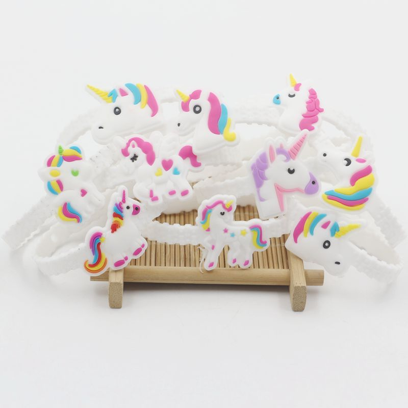 UNICORN TOY RINGS GIRLS GIFTS SILICON FAVOR PRINCESS BIRTHDAY PARTY BAG FILLERS