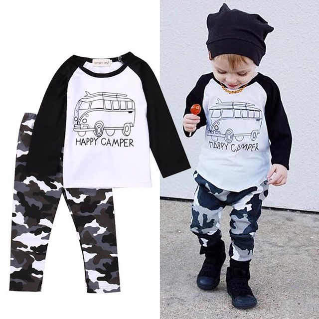 952104741 Newborn Baby Boy Letter T-shirt Tops+Camouflage Pants Outfit,2pcs Infant  Toddler