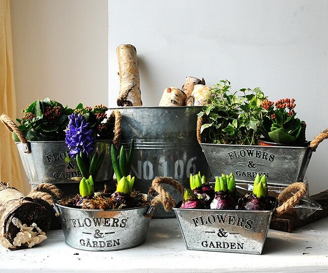 Aliexpress Com Buy 1pc Home Decor Metal Flower Pots Planters
