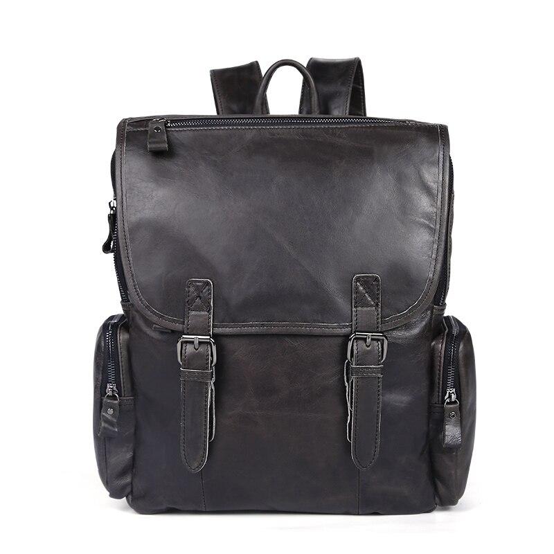 d9947b8596 NBSAMENG Genuine Cowhide Leather Men Backpacks Travel Duffel Bags Leather  Shoulder Bag Mochila School Laptop Bags-in Backpacks from Luggage   Bags on  ...