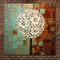 Hand Painted Abstract Art Thick Impasto Palette Knife Oil Canvas Painting Dandelion Wall Art Picture Living Room Home Wall Decor