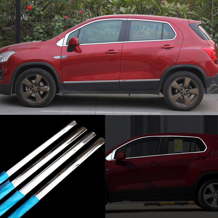 Ipoboo 14pcs Stainless Steel Door Window Frame Sill Molding Trim For Chevrolet TRAX stainless steel upper window frame sill trim 8pcs for fusion mondeo 2013 2014