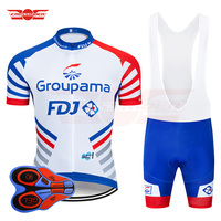 2019 Pro Team FDJ Cycling Jersey 9D Bib Set MTB Uniform Bike Clothing Quick Dry Bicycle Wear Clothes Mens Short Maillot Culotte