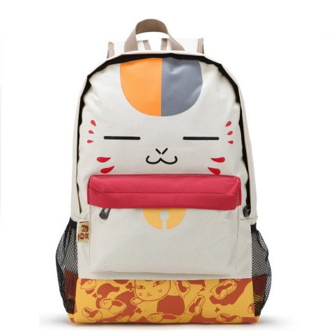 Girl Laptop Backpack Cute Face Print Pu Schoolbag Beige New Cat Backpack Women Student Bag School