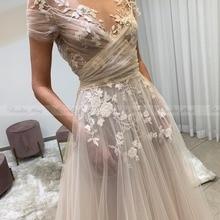Encaje Vintage Vestido de novia bordado con bolsillos ilusión cuello barco Bobo playa vestidos de novias 2020 Vestido de novia praia nuevo