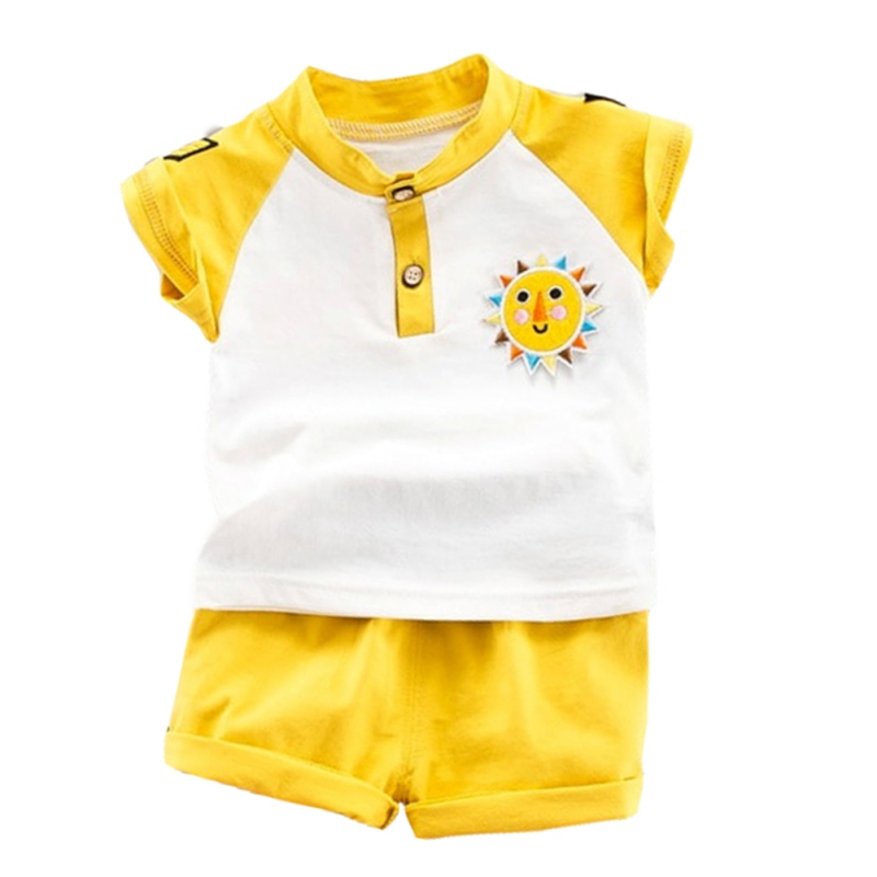 NewMandarin Collar Yellow/Blue Summer Baby Boys Short Sleeve Striped Letter Print Tops Blouse T shirt+Shorts Casual Outfits Sets - 3
