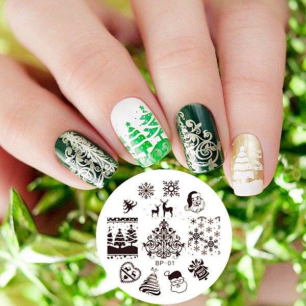 GEBOREN ZIEMLICH Stamping Schablone Weihnachten WEIHNACHTEN Schneeflocke Herzen Halloween Ostern Nailart Platte Nail 1
