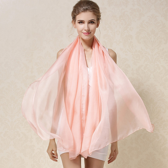C217  Wholesale16 colors spring and autumn&winter Women Scarf Joker Pure Color Long Silk Scarves 100% Silk Shawl