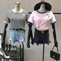 Женщины Емэн Вышивка Полоса Ringer Tee Топы Женский Японский Harajuku Случайный Цвет Блока Короткие Футболки Лоскутное Рубашки