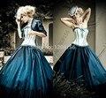 Debutante Vestido Gótico Vestido de Noiva Com Jaqueta de Tafetá Azul Escuro Querida Sexy vestido de Noiva Vestido De Noiva 2016