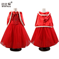 Snow queen Elsa Dress Children Kids Halloween Cosplay Costume Red Hooded Toddler Girls Dresses For Child For Christmas Party