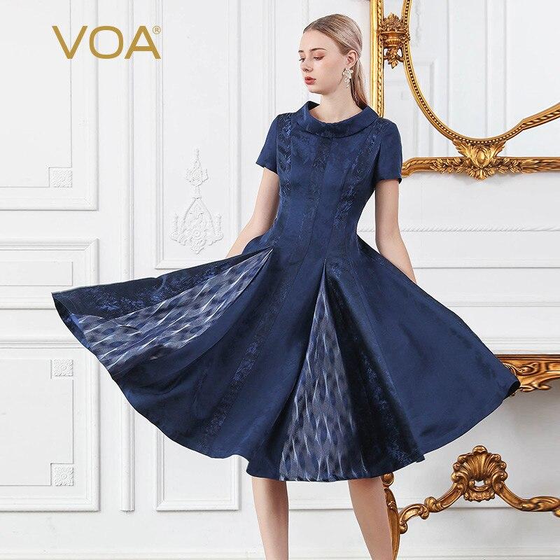 D'été Courtes Fête Sukienki Soie Damskie Manches Plissées Bleu A956 Robes 100 Femmes Midi Voa Marine Perle Perles Tenue De q101RC