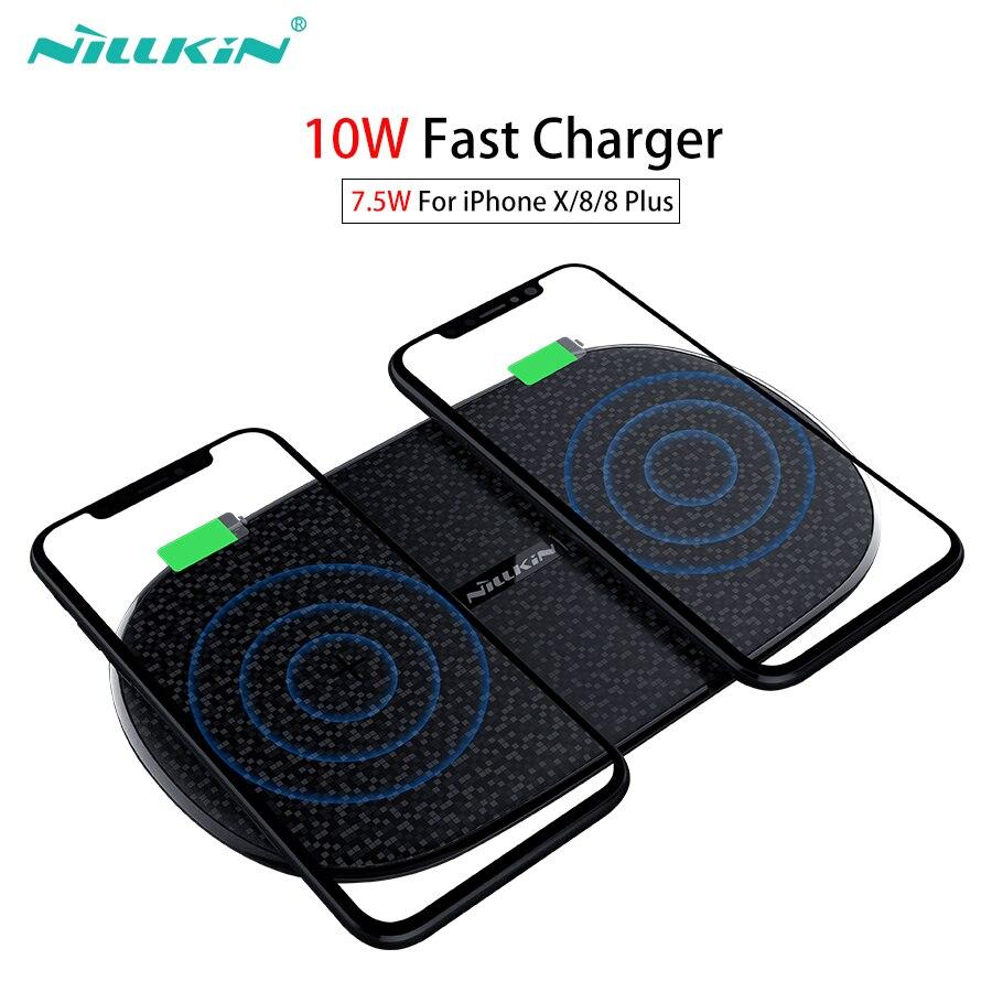 Carregador Sem Fio rápida 10 w 7.5 w, nillkin 2 em 1 Qi Almofada de Carregamento Sem Fio para o iphone X/8/9 8 Plus Para Samsung Nota /S9/Note 8/S8