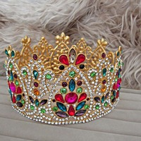 Vintage queen Diadem Baroque Colorful Crystal Bridal Tiaras Crowns Gold Rhinestone Pageant Wedding Hair Accessories Jewelry LB