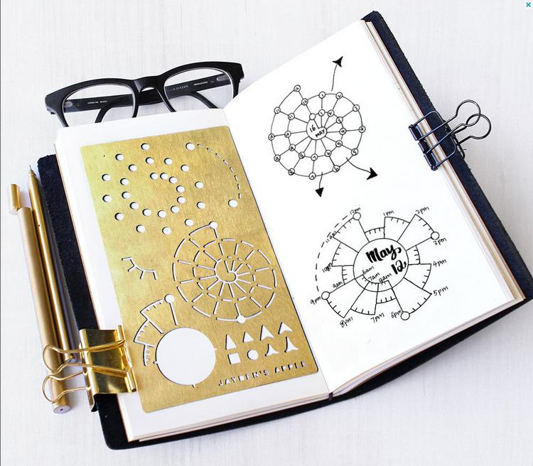 Kawaii Accessories Brass Drawing Templates Ruler Vintage Travel Arrow Bookmark Diary Function Metal Ruler Storage Bag
