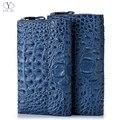YINTE Clutch Carteiras Carteira De Couro dos homens Inglaterra Estilo Azul Saco de Embreagem Passaporte Titular do Cartão Homens Bolsa Crocodile Prints T5090-4