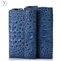 YINTE Men's Clutch Wallets Leather Wallet England Style Blue Clutch Bag Passport Purse Men Card Holder Crocodile Prints T5090-4