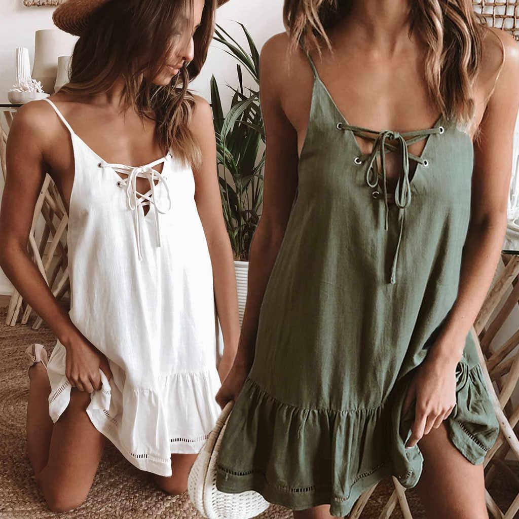 夏のドレス女性のセクシーな V ネックノースリーブ背中のパーティードレスレディースヴィンテージローブフェムセクシービーチ vestidos 2019 女性服のベスト
