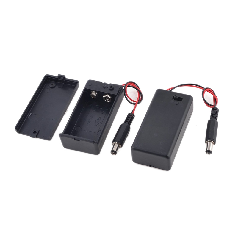 Hot!! 2Pieces 2.1 x 5.5mm Male Plug Case Box Holder w Cover for 9V Battery