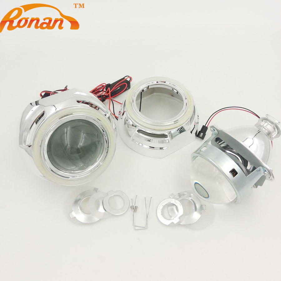 RONAN Car Styling Automobiles 3.0''Metal Bi-xenon HID Projector Lens With 95MM COB DRL Angel Eyes for headlight H1 H4 H7  car styling automobiles 3 0 metal bi xenon hid lens with led cob drl angel eyes for projector headlight h1 h4 h7