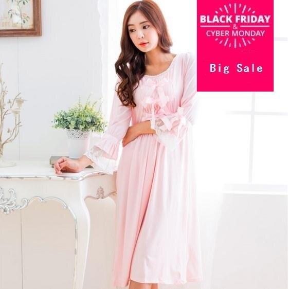 58b11d3804 2017 Princess Nightgown Women s thick warm Cotton Sakura Pink bowtie  sleepwear Sleep Dress Gown Vintage Princess Bows Cute D34