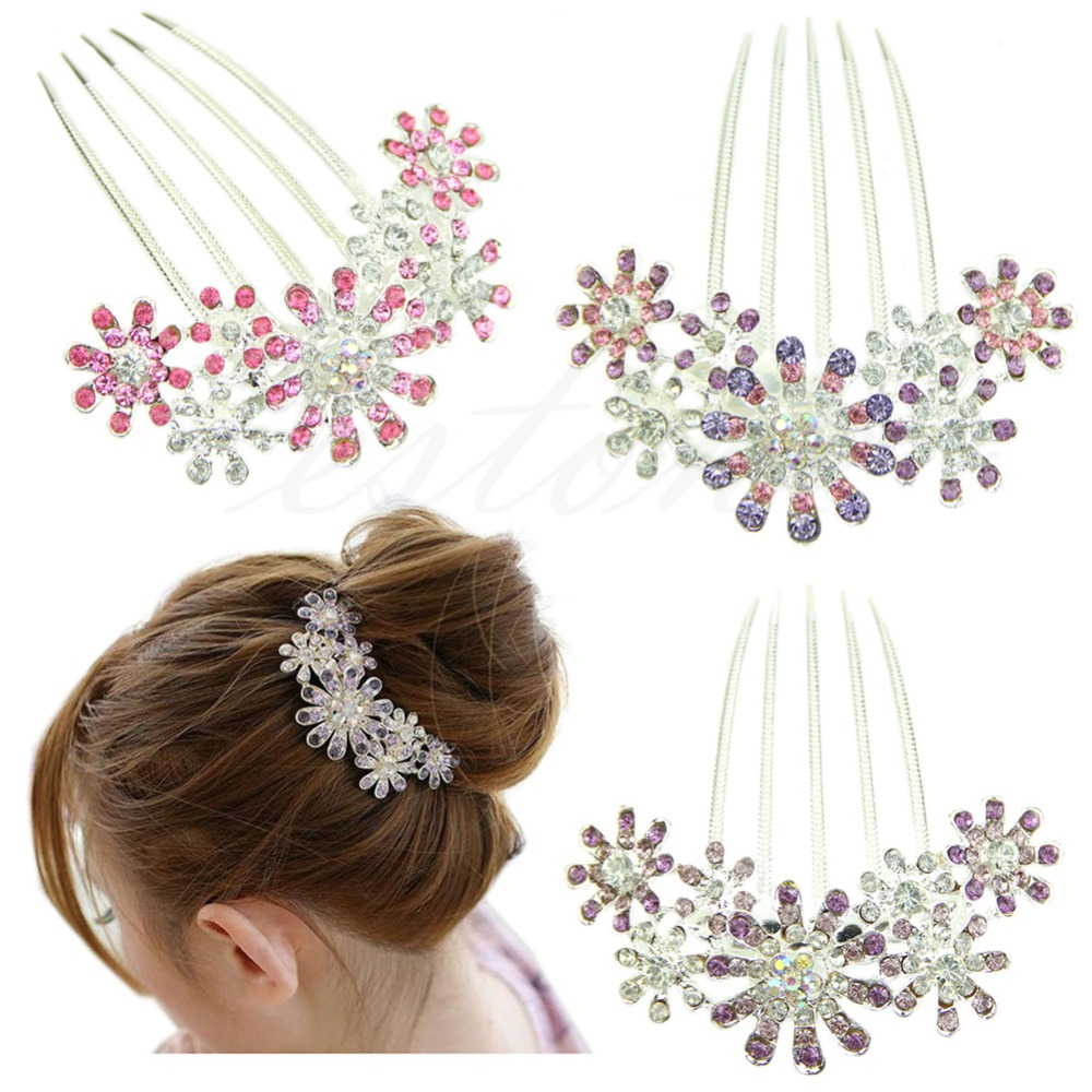 us $1.35 22% off|elegant rhinestone crystal flower pattern bridal hair tuck comb clip pin-in women's hair accessories from apparel accessories on