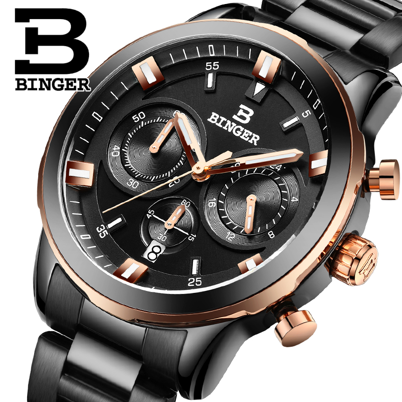 ФОТО BINGER Men Luxury Brand Waterproof Leather Chronograph Wristwatches Male Stainless Steel Waterproof Business Watch B-9011G