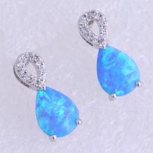 Love Monologue Elegant Water Drop Blue Create Opal & Cubic Zirconia Silver Color Stud Earring for Wedding Jewelry H0281