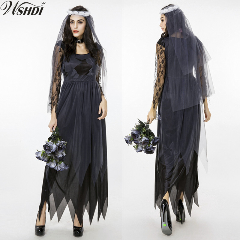 Dark Angel Ghost Bride Costumes Black Lace Manor Zombie Wedding Gothic Corpse Dress Halloween Vampire Cosplay Costumes