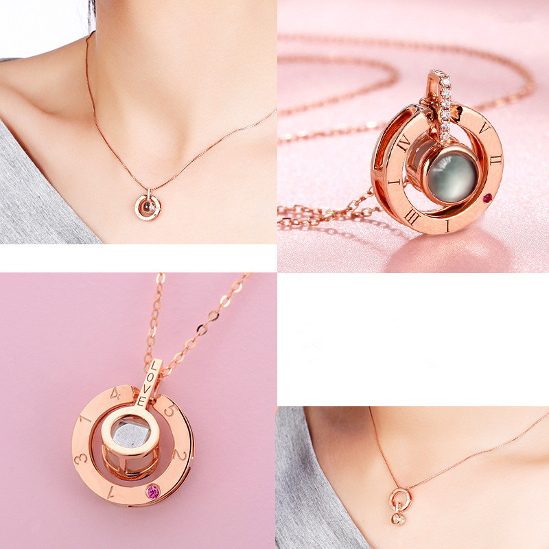 HTB1SLX5as vK1RkSmRyq6xwupXao - Rose Gold&Silver 100 languages I love you Projection Pendant Necklace Romantic Love Memory Wedding Necklace