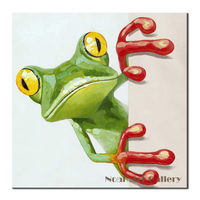 Lively Frog Painting Wall Art Home Goods Decorative Painting For Kids Room Handpainted Acrylic Oil Painting On Canvas Unframed