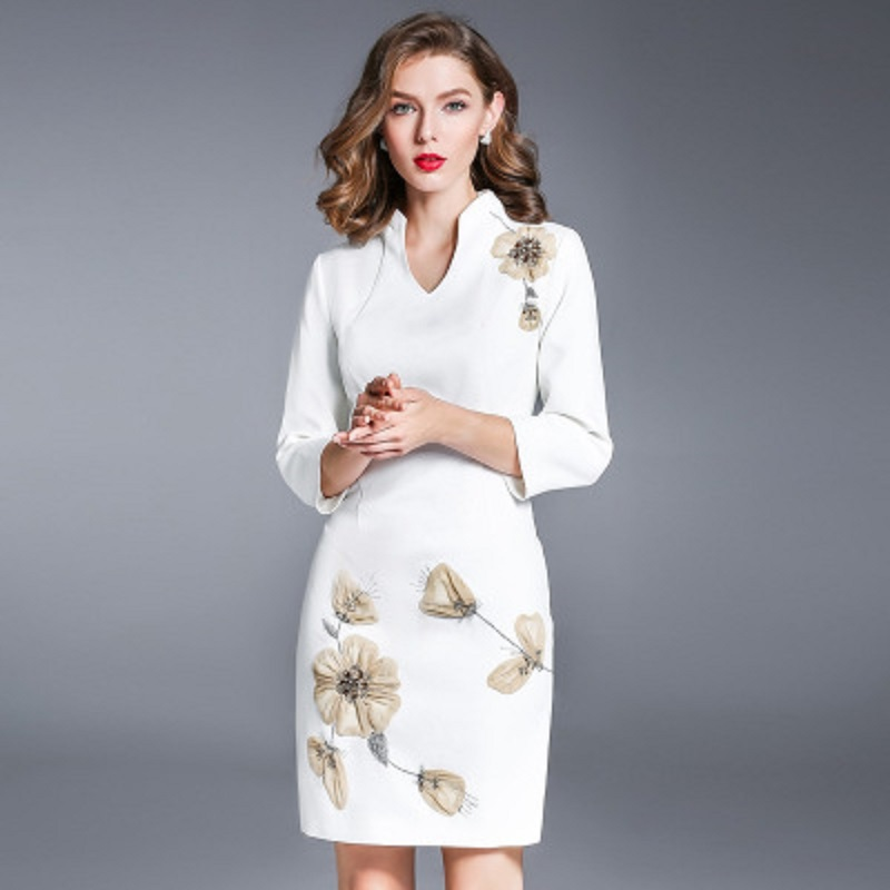 Office lady Embroidery dresses 3xl 2018 new Autumn Party Dress Vintage Women Clothing Casual V Neck