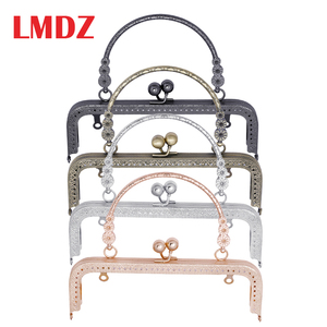 LMDZ 1Pcs Vintage Kiss Clasp Lock Arch Frame For Sewing Handbag Purse Lock Coin Bag Accessories Parts 20CM with Metal Handle