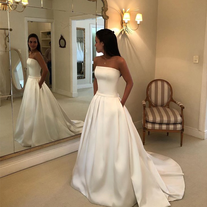 Simple Boho A line Wedding Dresses Strapless Satin Draped Bridal Dress Bow Sashes Vestidos De Noiva Bride Dresses Cheapest-in Wedding Dresses from Weddings & Events