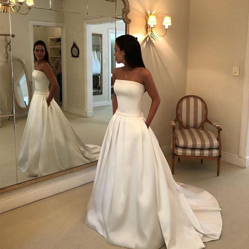 Simple Boho a-ligne robes De mariée sans bretelles Satin drapée robe De mariée arc ceintures Vestidos De Noiva robes De mariée moins cher
