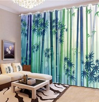 3D Window Curtains For Bedding Room Bamboo Forest Curtains For Living Room Green Modern Home Custom