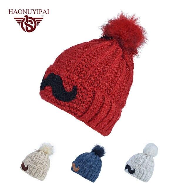 Новое Прибытие Прекрасный Усы Hat Зима Для Женщин Теплые Вязаные Шапочки Крышка Леди Праздник Рождество Подарок Chapeu Feminino