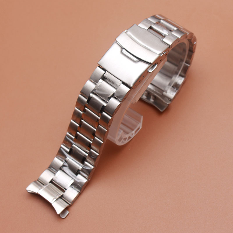 Replacement Stainless steel Watchband Bracelets Curved end Solid Link 18mm 20mm 22mm steel watch men High Quality Fast Delivery