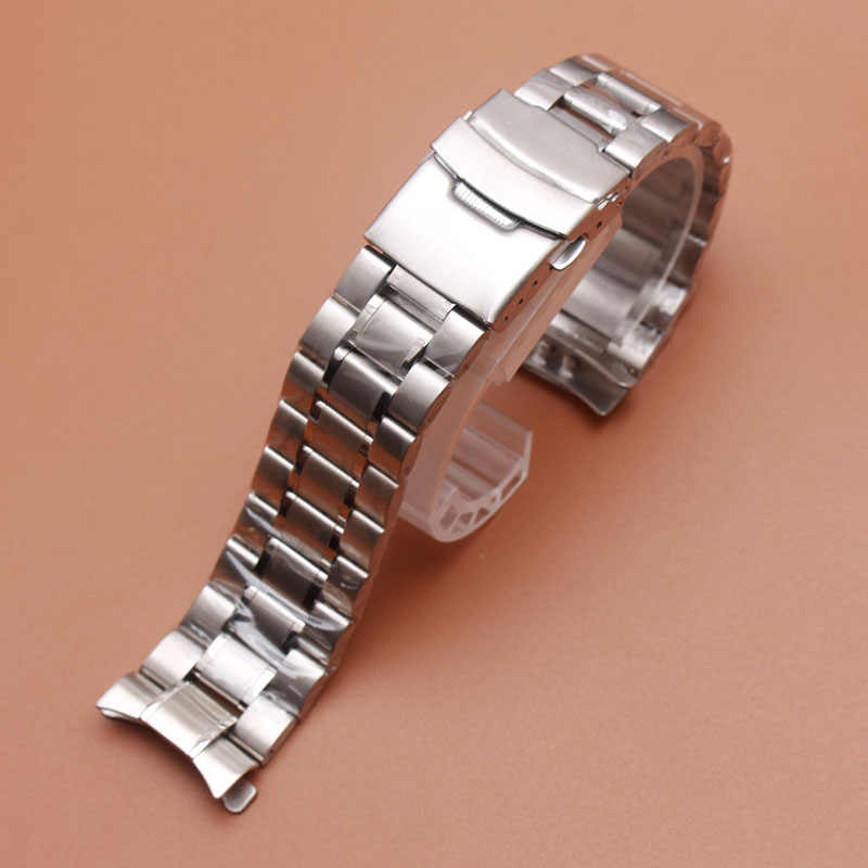 2555eb632ed40 Replacement Stainless steel Watchband Bracelets Curved end Solid Link 18mm  20mm 22mm steel watch men High